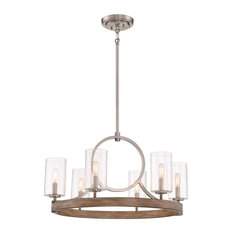 Minka Lavery Country Estates 6-Light Chandelier 4015-280, Sun Faded Wood