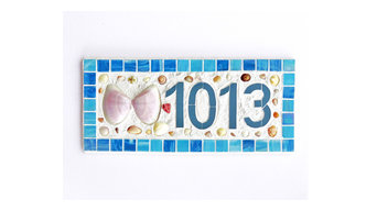 Large Butterfly Shell and Mosaic Tile House Number
