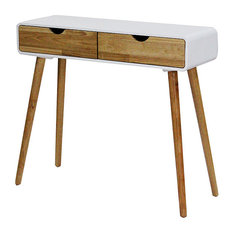 31.5' White Console Table with 2 Drawers