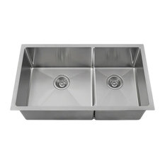 """Double Bowl 3/4"""" Stainless Steel Sink, 18-Gauge, Wide Left, Sink Only"""