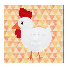 "Oliver Gal Olivia's Easel ""White Hen"" Canvas Art, Tan, 16""x16"""