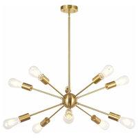 10 Light Sputnik Chandelier Industrial Pendant Lighting Brushed Brass