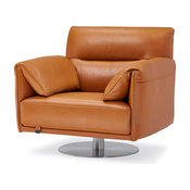 Modern Tampa Swivel Armchair in Orange Genuine Leather with Stainless Steel Base