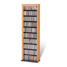 Prepac Furniture - Slim Barrister Tower, Oak/Black - Media Racks and Towers