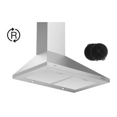 30 in. Ductless Pyramid Range Hood and Carbon Filters for Recirculating