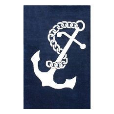 Hand-Tufted Coastal Nautical Anchor Rug, Navy, 5'x8'