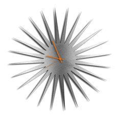 MCM Starburst Clock, Silver/Orange Midcentury Modern Style Wall Clocks