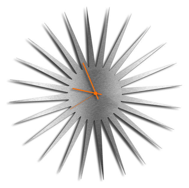 Genial MCM Starburst Clock, Silver/Orange Midcentury Modern Style Wall Clocks