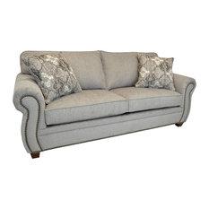 Gisella Light Grey Fabric Sofa With Nailhead Trim
