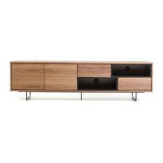 Vig Furniture Inc. - Modrest Torlonia Modern Walnut & Black TV Stand - Entertainment Centers and Tv Stands