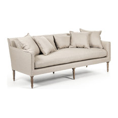 George Modern French Country Linen Gray Oak Louis Style Sofa