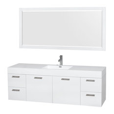 """Amare 72"""" Single Glossy White Vanity, Resin Top, Integrated Sink, 70"""" Mirror"""