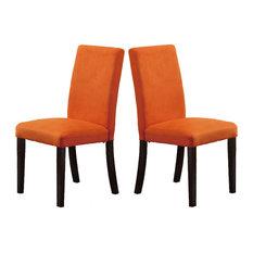 Adarn Parson Dining Chairs Microfiber Covered Seat Espresso Leg Orange