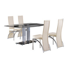 Roma Tempered Glass, Chrome Dining Table, 4 Alisa Leather Chairs, 150 cm, Ivory