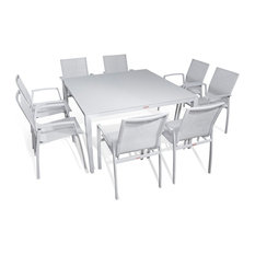 Outdoor Patio Furniture Aluminum Gray Frosted Glass 9 Piece, Square Dining Table