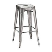 "Ajax 30"" Contemporary Steel-Style Bar Stools, Gunmetal, Set of 4"