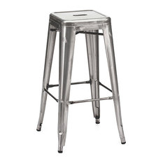 Ajax 30-inch Contemporary Steel Tolix-Style Barstool - Gunmetal