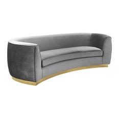 Julian Velvet Sofa, Gray, Gold Base