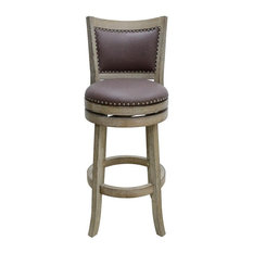 Cantabria Swivel Bar Stool Weathered-White Wire-Brush And Dark Mocha
