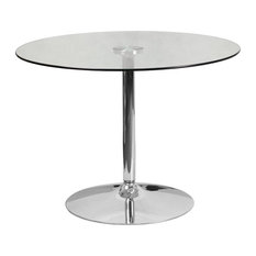 39.25'' Round Glass Table With 29'', Chrome Base