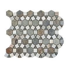 "10.25""x11.25"" Ridge Aztec Stone Mosaic Floor and Wall Tile, Multi Sunset"