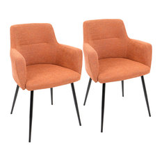 LumiSource Andrew Dining Chair Gray Set Of 2 Orange/Black