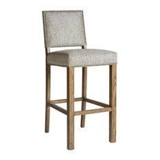 Bar Stool Weston Gray Neutral Fabric Upholstered Weathered Oak Birch