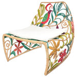 Jo-Liza International - Camia Chair - multi colord reclined back chair with parrots and leaves