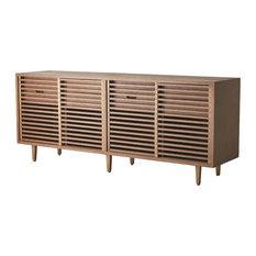 "MidCentury Slat Front Sliding Door Media Cabinet Modern 80"" Wood Vintage Style"