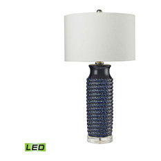 """30"""" 9.5W 1 LED Wrapped Table Lamp Navy Blue Clear Glass off White Fab"""