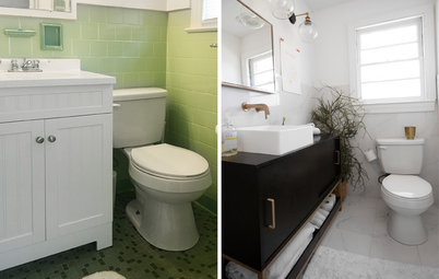 Get Ideas From This Budget-Friendly Black-and-White Bath