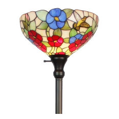 Amora Lighting Tiffany-style  Hummingbirds Floral Torchiere Floor Lamp 70 In