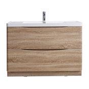 Smile Modern Bathroom Vanity With Integrated Acrylic Sink, White Oak