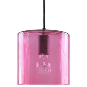 Rounded Glass Cylinder Pendant Light, Pink