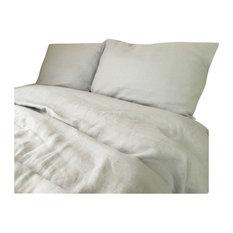 Stone Gray Duvet Cover Set Handmade, Natural Linen, Gray Bedding, Cal King
