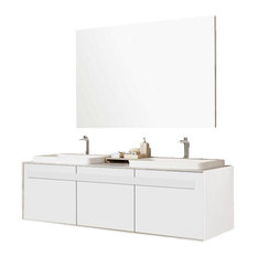 "Trezetto Double Sink Vanity, Oak, 59"", Glossy White"
