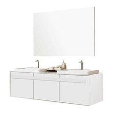 "Trezetto Double Sink Vanity, Oak, 59"", Glossy White"
