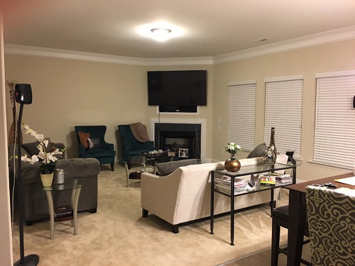 Corner fireplace help! Odd room for furniture layout