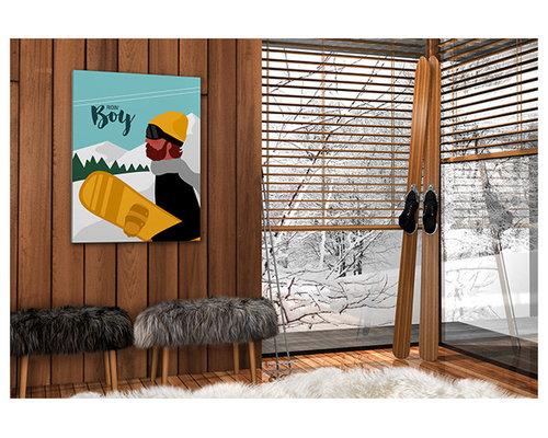 Affiche montagne snowboard - Imprimé et Poster