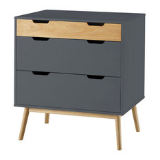 TOP AMBIENTES - 3-Drawer Dresser, Anthracite - Chests of Drawers