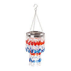 """19.125"""" Solar Lighted Hanging Chandelier With Acrylic Multicolored Jewel Beads"""