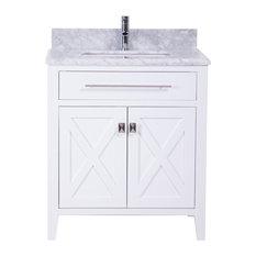 "30"" White Bathroom Vanity With Marble Sink Top"