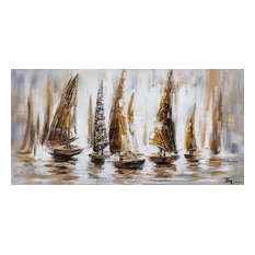 """International Image & Canvas - """"Gold Sail Boats"""" Hand Painted Canvas Art, 55""""x27.5"""" - Paintings"""