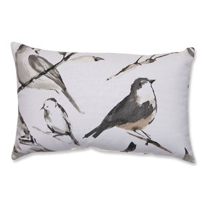 Bird Watcher Charcoal Rectangular Throw Pillow
