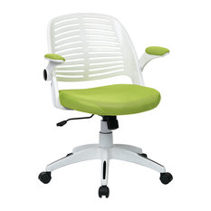 Unknown   Ave Six Tyler Office Chair With White Furniture Decor Frame And  Green Fabric