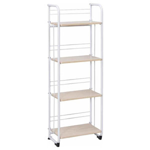 Folding Serving Rolling Cart, White Steel Frame and Particle Board Shelves