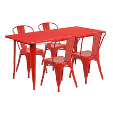 31.5  X63'' Rectangular Red Metal Table Set With 4 Stack Chairs