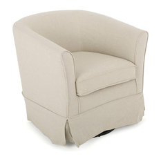 Hamilton Natural Fabric Swivel Chair with Loose Cover, Natural