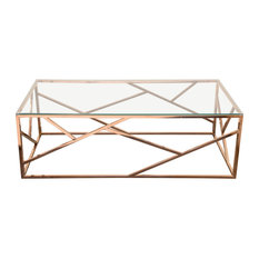 Nest Rectangular Cocktail Table With Clear Tempered Glass Top Rose Gold