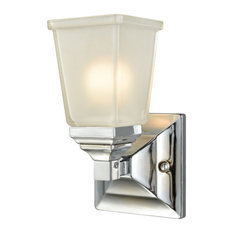 Sinclair 1-Light Vanity, Polished Chrome With Frosted Glass Shade